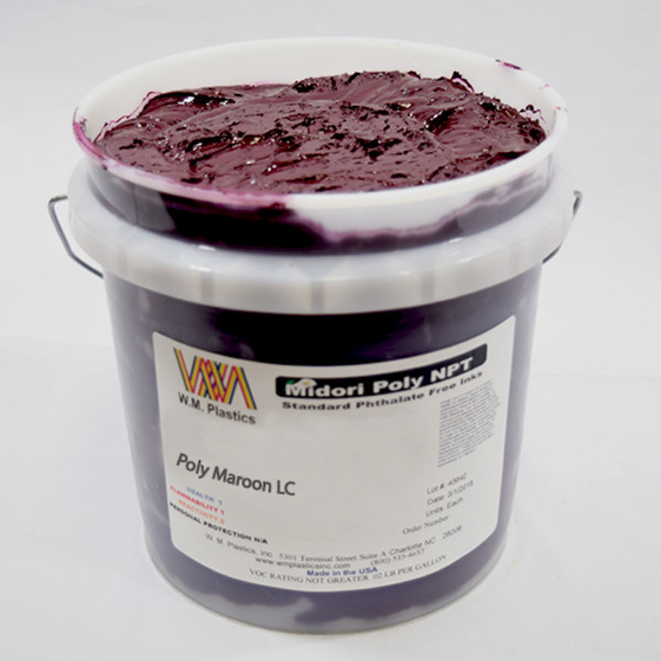 Maroon Low Cure- Low Temp Poly Ink Buckets of Ink